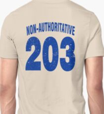 Team shirt - 203 Non-Authoritative, blue letters T-Shirt