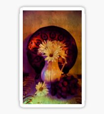 Still Life with Daisy flowers and grapes Sticker