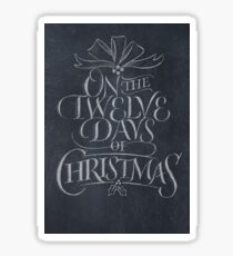 Elegant Chalkboard Hand Lettering '12 Days of Christmas' Calligraphy Chalk Card Sticker