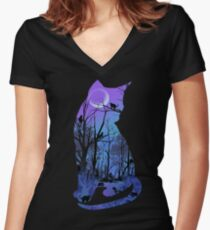 CATMOON Women's Fitted V-Neck T-Shirt