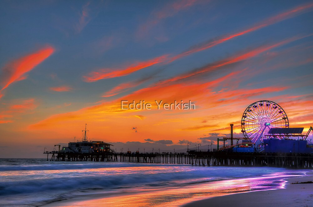 Quot Santa Monica Pier Sunset Quot By Eddie Yerkish Redbubble