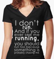 I don't run Women's Fitted V-Neck T-Shirt