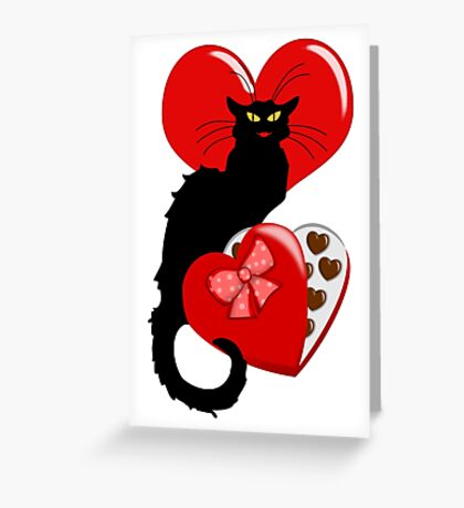 Le Chat Noir with Chocolate Candy Gift  Greeting Card