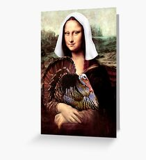 Mona Lisa Thanksgiving Pilgrim Greeting Card