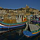 """FISHING BOATS AT MGARR HARBOUR GOZO"" by RayFarrugia"