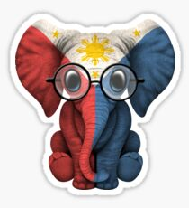 Baby Elephant with Glasses and Filipino Flag Sticker