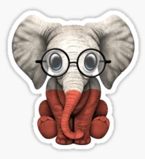 Baby Elephant with Glasses and Polish Flag Sticker