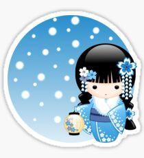 Japanese Winter Kokeshi Doll Sticker