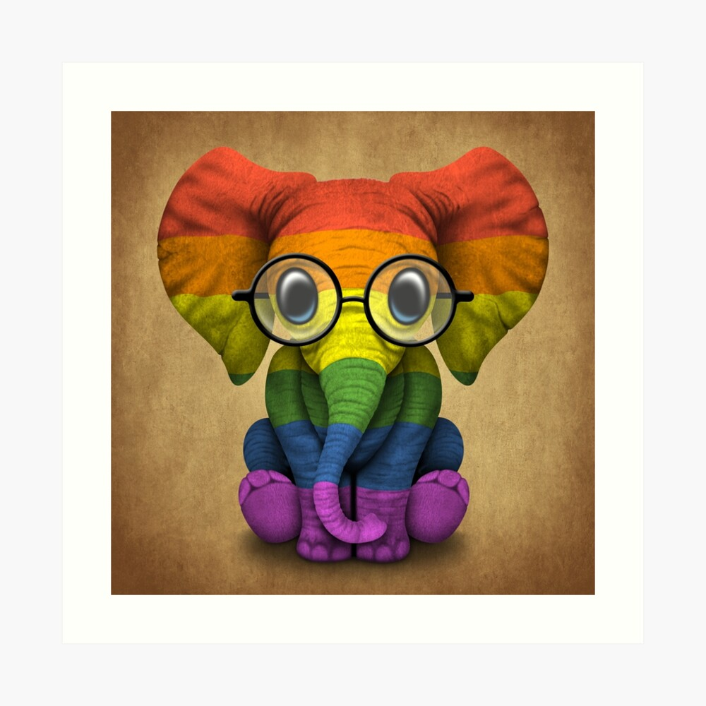 Quot Baby Elephant With Glasses And Gay Pride Rainbow Flag