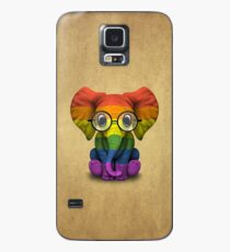 Baby Elephant with Glasses and Gay Pride Rainbow Flag Case/Skin for Samsung Galaxy