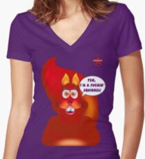 GeekGirl - Squirrel Women's Fitted V-Neck T-Shirt