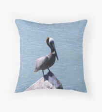 Fort Pierce South Jetty Pelican  Throw Pillow