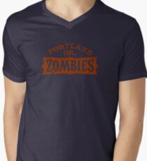 Portland Zombies Distressed Logo Mens V-Neck T-Shirt