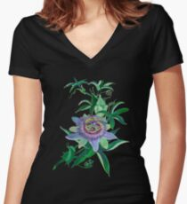 Passion Flower Amethyst  Blossom Women's Fitted V-Neck T-Shirt