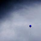 Blue balloon on grey sky by SRLongstroth