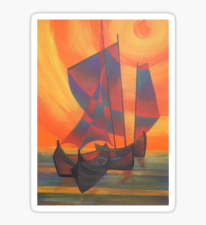 Red Sails in the Sunset Cubist Junk Abstract Sticker