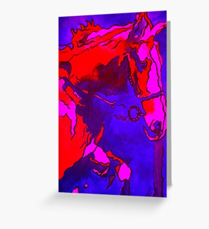 Pony In Neon Pink and Blue Greeting Card