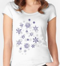Blue and White Holiday Snowflakes Women's Fitted Scoop T-Shirt