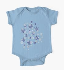 Blue and White Holiday Snowflakes One Piece - Short Sleeve