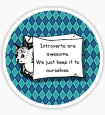 Introverts Are Awesome Cat in a Bag! Sticker