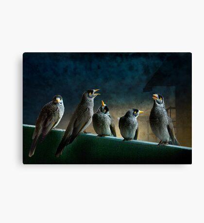 five birdies on a balcony Canvas Print