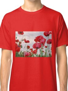 Field of Poppies Against Grey Sky  Classic T-Shirt