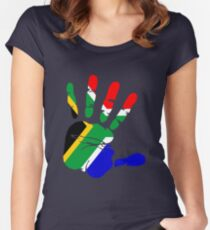 Flag of South Africa Handprint Women's Fitted Scoop T-Shirt