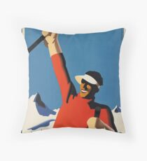 Vintage poster - Skiing Austria Throw Pillow