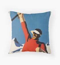 Vintage poster - Skiing Austria Throw Pillow