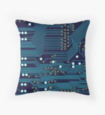 Dark Circuit Board Throw Pillow