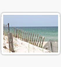 Ocean view through the beach fence Sticker