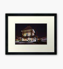 A Train Passes the Bristol Train Station at Night Framed Print