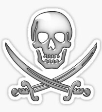 Glassy Pirate Skull & Sword Crossbones  Sticker