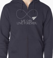 live forever - blue Zipped Hoodie