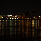 Detroit Night Skyline Reflections - 3 by Barry W  King