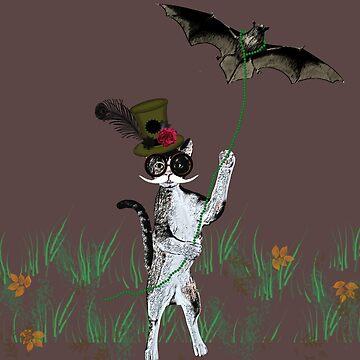Steampunk Kitty Flying A Bat by FlaminCatDesign