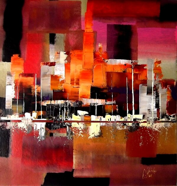 """2723 Abstract City Harbour Skyline Painting"" By Eraclis"