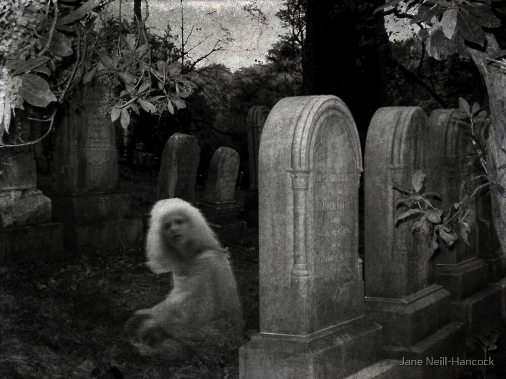 Ghostly Girl By Her Grave, Sleepy Hollow Cemetery by Jane Neill-Hancock