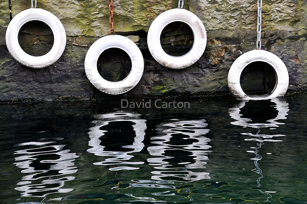 Mooring tyres, Bergen, Norway by David Carton