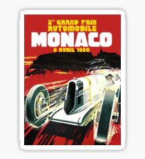 Monaco Motor Racing Vintage Travel Advertisement Sticker