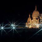 Sacre Coeur lit up at night with flood lights, Paris by Sami Sarkis