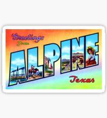Greetings From Alpine Vintage Postcard Sticker Sticker