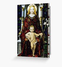 Stained glass window of the Madonna and Child Greeting Card