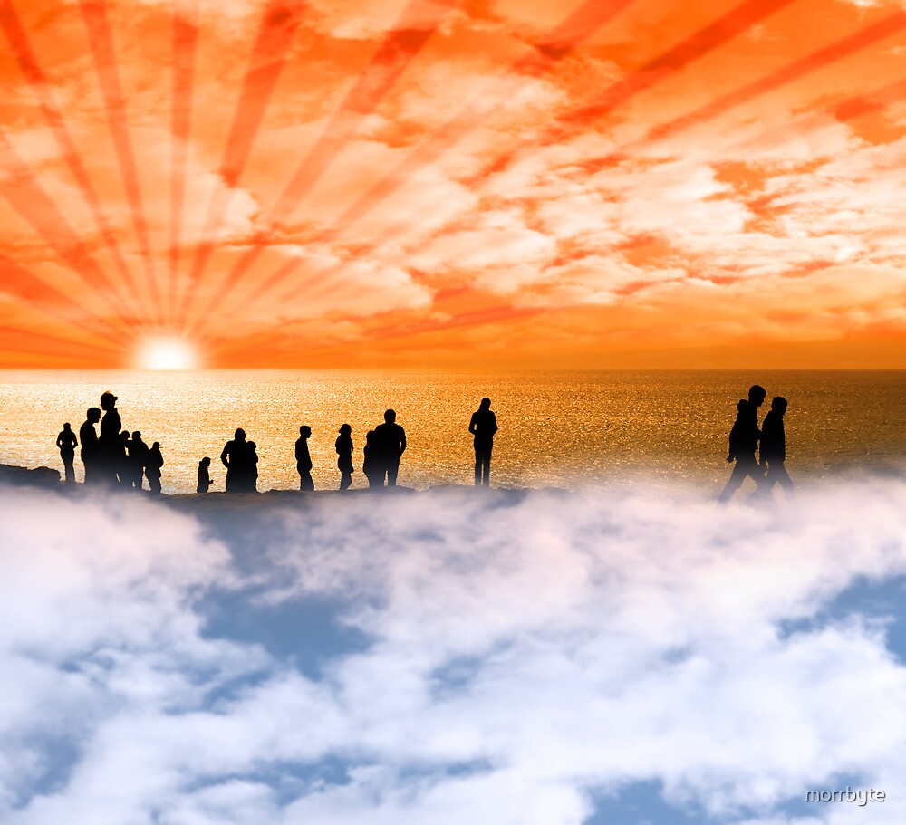 silhouette of people on the cliff edge above clouds by morrbyte
