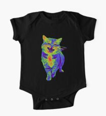 Psychedelic Cat One Piece - Short Sleeve