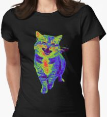 Psychedelic Cat Womens Fitted T-Shirt