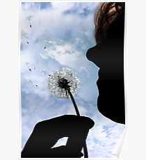 silhouetted dandelion being gently blown by woman Poster