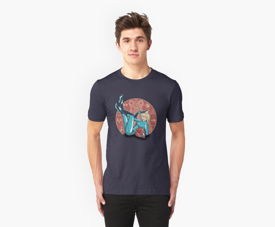Power-up Pin-up- Metroid Shirt by spacemonkeydr