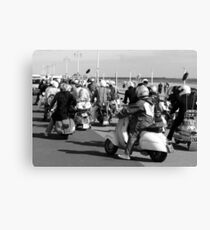 Mods ready for a rideout in Brighton. Canvas Print