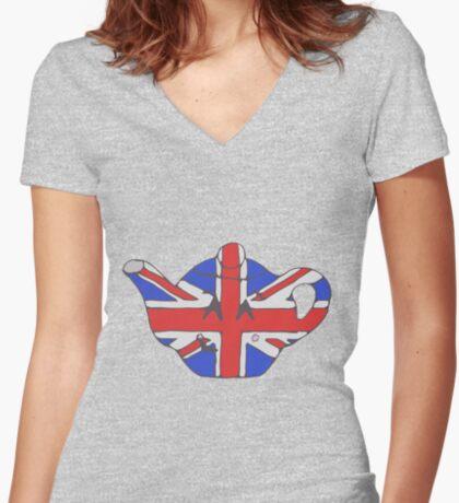 Teapot UK tee Women's Fitted V-Neck T-Shirt